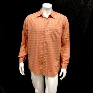 Lacoste Mens Orange Checkered Button Shirt